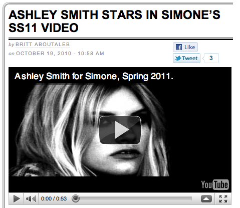Ashley Smith Stars in Simone's SS11 Video